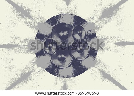 High contrast audio speakers in a circle