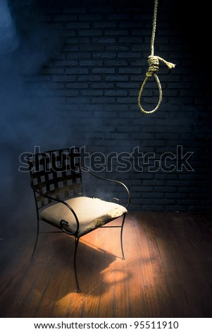 high contrast image of a hangman's noose - stock photo