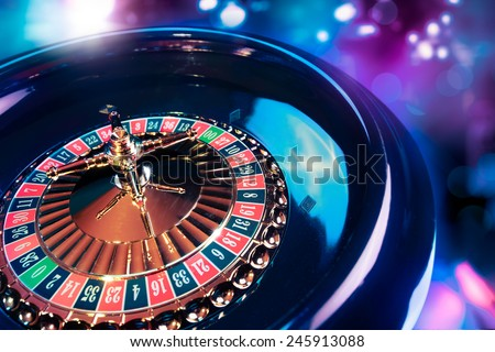 high contrast image of casino roulette - stock photo
