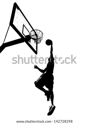 High contrast silhouette illustration of an athlete slam dunking a basketball.