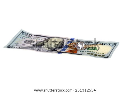 High cost of Marriage Concept. A Diamond Wedding Ring on a One Hundred Dollar Bill. Isolated on white with room for your text. Weddings Savings Plan, Saving for a Honey Moon and other concepts. - stock photo