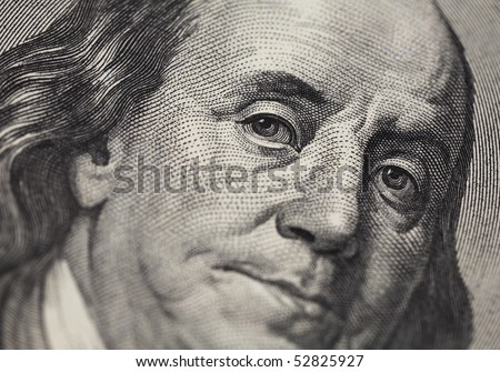 High definition Benjamin Franklin portrait from 100 dollars banknote