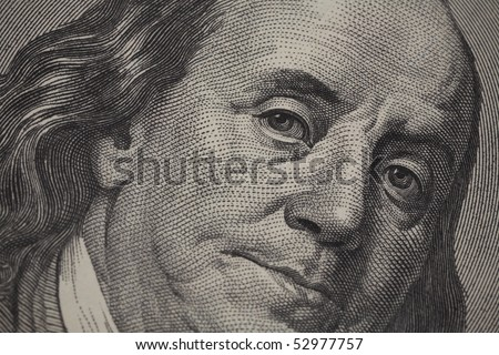 High definition Benjamin Franklin portrait from 100 dollars banknote - stock photo