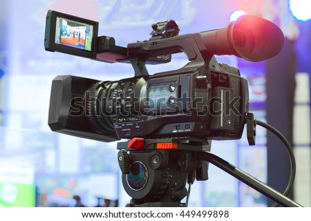High definition cinema camera on a movie set - stock photo