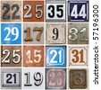 High-definition composition of 16 street numbers - stock photo