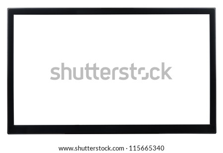 High Definition TV isolated on white - stock photo