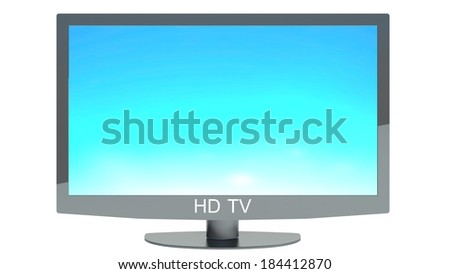 High definition TV isolated on white background - stock photo