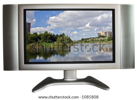 High-Definition TV with simulated picture - stock photo