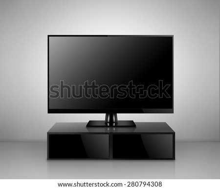 High Definition TV with TV stand in a room - stock photo
