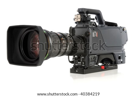 High definition video camera isolated over white background - stock photo