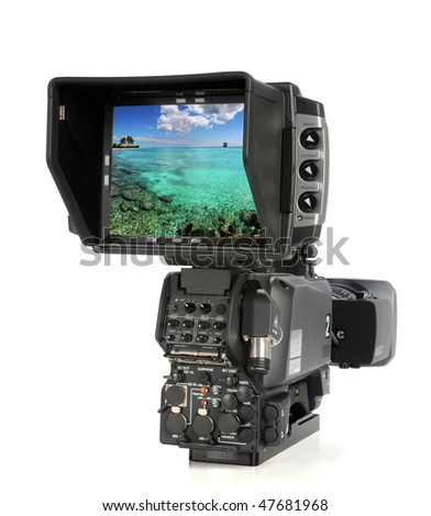 High Definition video camera viewed from back side with picture on screen - Clip path to change image on monitor