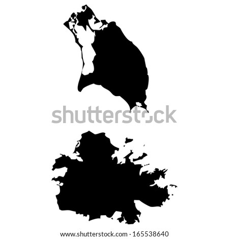 High detailed black illustration map - Antigua and Barbuda