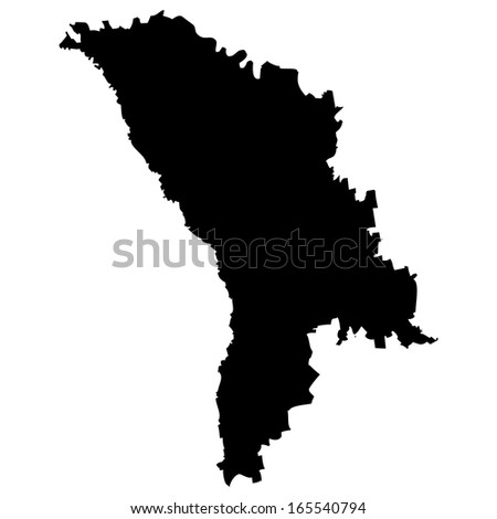 High detailed black illustration map - Moldova