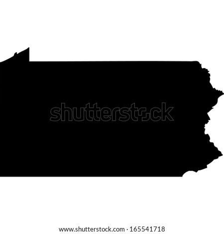 High detailed black illustration map - Pennsylvania - stock photo