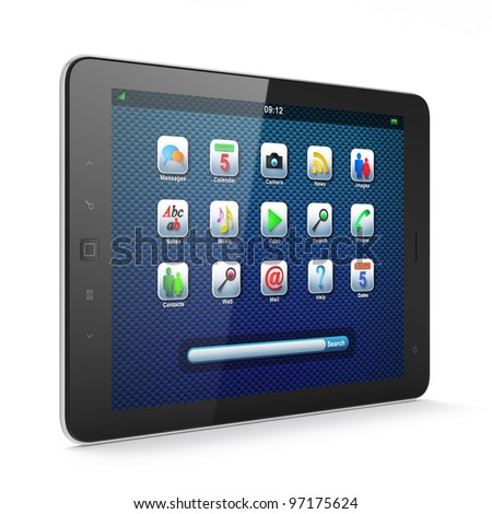 High-detailed black tablet computer (tablet pc) on white background, 3d render. - stock photo