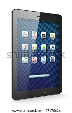 High-detailed black tablet pc on white background, 3d render.