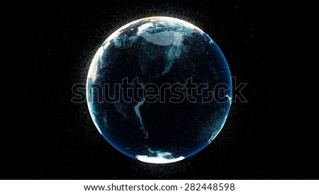 high detailed concept of digital earth globe with random numbers and highlight elements