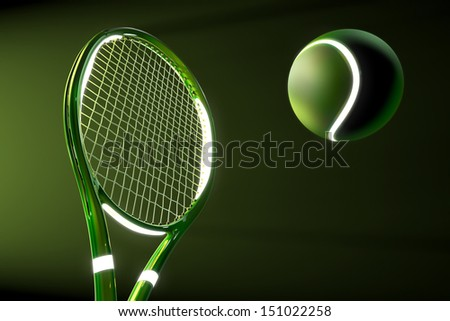 High detailed 3D tennis racket with light source parts and a tennis ball on a dark background with green futuristic style - stock photo