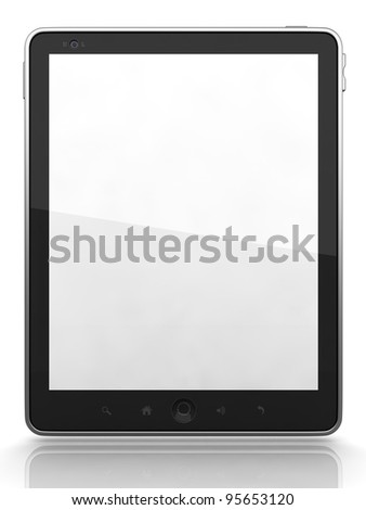 High-Detailed Digital Tablet PC on White Background, 3D - stock photo
