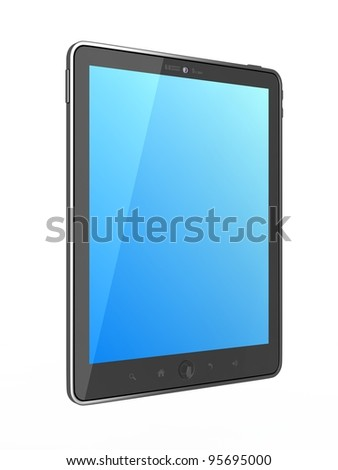 High-Detailed  generic Portable Tablet PC on White Background, - stock photo