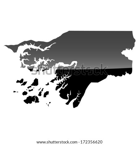 High detailed illustration map with piano effect - Guinea-Bissau