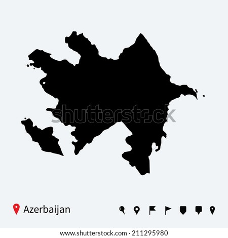 High detailed map of Azerbaijan with navigation pins. - stock photo