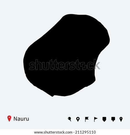 High detailed map of Nauru with navigation pins.