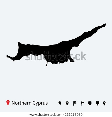 High detailed map of Northern Cyprus with navigation pins.