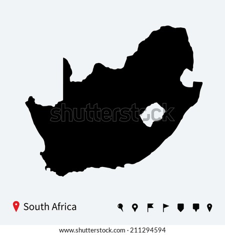 High detailed map of South Africa with navigation pins. - stock photo