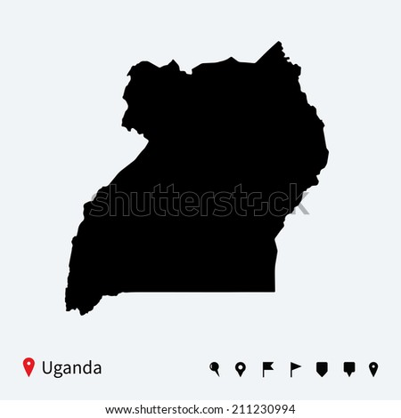 High detailed map of Uganda with navigation pins. - stock photo