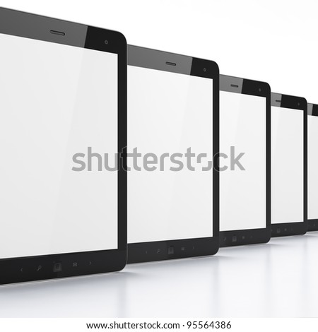 High-detailed modern time black tablet computer, 3d render.  Tablet pc on white background - stock photo