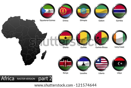 High detailed national flags of African countries, clipped in round shape glossy metal buttons, raster version, part 2