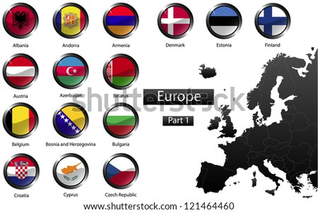 High detailed national flags of European countries, clipped in round shape glossy metal buttons, part 1, raster version - stock photo