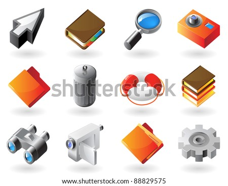 High detailed realistic icons for computer and website interface. Raster version. Vector version is also available. - stock photo