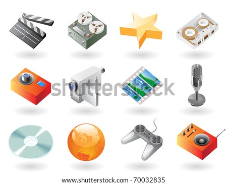 High detailed realistic icons for entertainment. Raster version. Vector version is also available. - stock photo