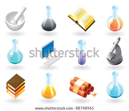 High detailed realistic icons for science, technology and education. Raster version. Vector version is also available. - stock photo
