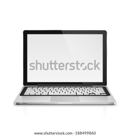 High detailed realistic illustration of modern laptop with blank screen on white background. - stock photo