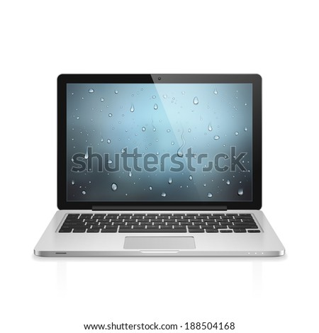 High detailed realistic illustration of modern laptop with water drops wallpaper on screen isolated on white background - stock photo