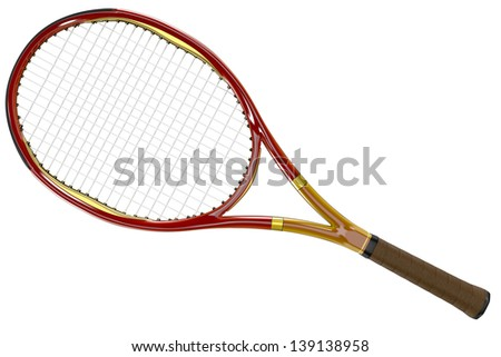 High detailed red 3D tennis racket isolated on white background - stock photo
