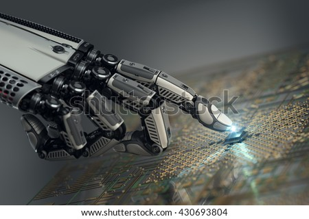 High detailed robotic hand touching digital circuit board with index finger. Bionic technology in virtual world. 3d rendered image - stock photo
