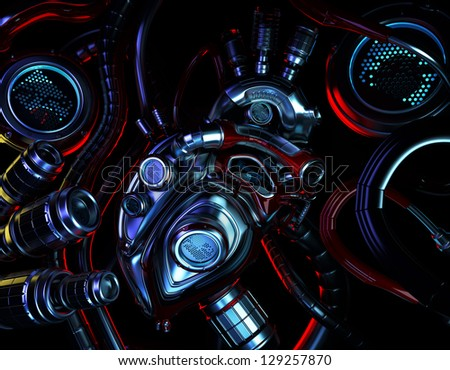 High detailed shiny artificial heart system. 3d render / Robotic part - heart - stock photo