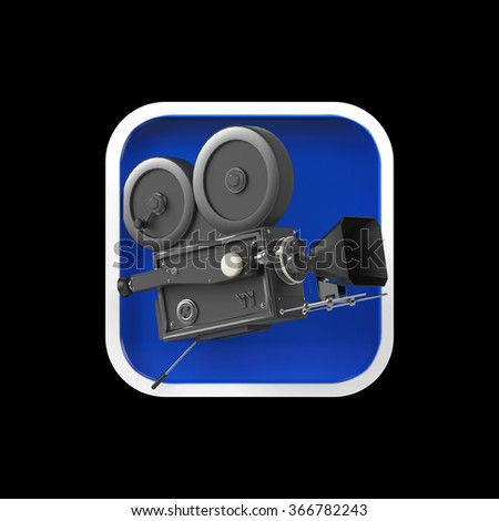 high detailed vintage movie camera on rounded square background.High resolution 3d render application icon for video editor, camera VFX application. user interface element