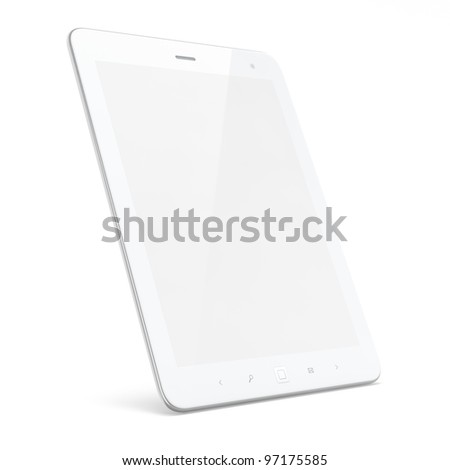 High-detailed white tablet computer (tablet pc) on white background, 3d render. - stock photo