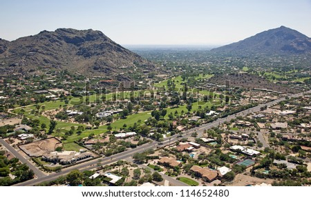High dollar homes with golf course views in Phoenix, Arizona - stock photo