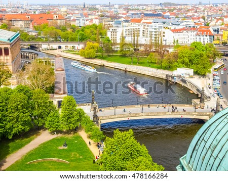 High dynamic range HDR Aerial bird eye view of the city of Berlin, Germany