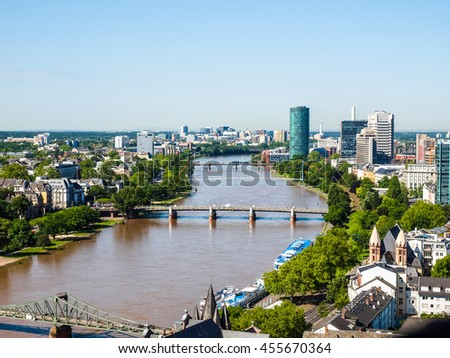 High dynamic range HDR Aerial view of the city of Frankfurt am Main in Germany - stock photo
