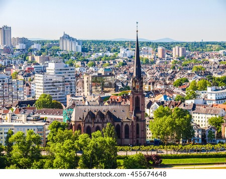 High dynamic range HDR Aerial view of the city of Frankfurt am Main in Germany