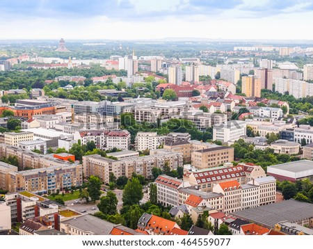High dynamic range HDR Aerial view of the city of Leipzig in Germany
