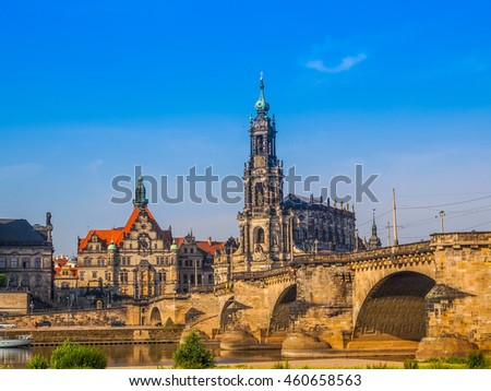 High dynamic range HDR Dresden Cathedral of the Holy Trinity aka Hofkirche Kathedrale Sanctissimae Trinitatis in Dresden Germany