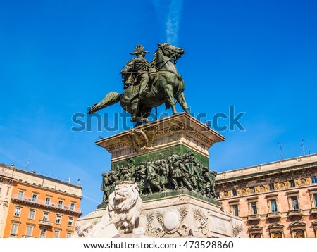 High dynamic range HDR Equestrian statue of Vittorio Emanuele II in Milan Italy